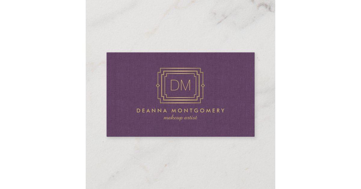 Elegantes Glamour Kunst Deko Monogramm Lila Gold