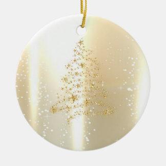 Elegantes glänzendes, Imitat-Goldweihnachtsbaum Rundes Keramik Ornament