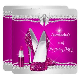 Elegantes Glitzer-Glamour-Rosa-hoher Karte