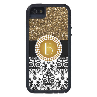 Elegantes Glitzer-und Damast-Muster mit Monogramm iPhone 5 Cover