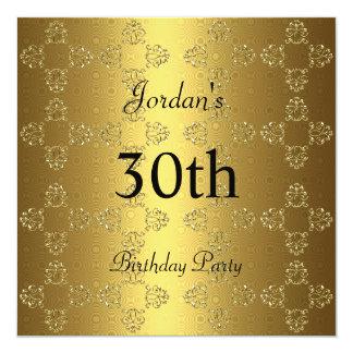 Elegantes Gold30. Geburtstags-Party Quadratische 13,3 Cm Einladungskarte