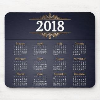 Elegantes Gold 2018 und blauer Kalender | Mousepad