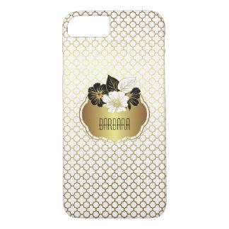 Elegantes Gold auf weißem Quatrefoil Muster iPhone 8/7 Hülle