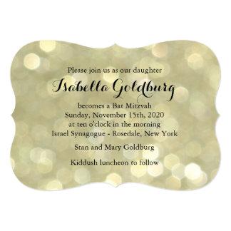 Elegantes Gold beleuchtet Schläger Mitzvah Einladungskarte