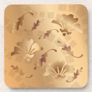 Elegantes Gold tonte beige BlumenUntersetzer-Set Untersetzer