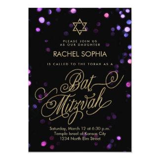 Elegantes Gold u. lila Schläger Mitzvah Party 12,7 X 17,8 Cm Einladungskarte