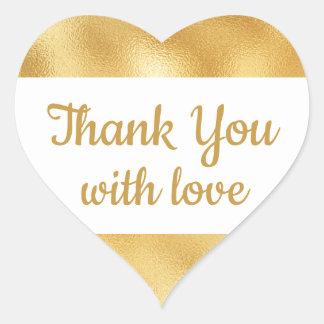 Elegantes Gold u. Weiß dankt Ihnen bezaubernde Herz-Aufkleber
