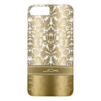 Elegantes Gold u. weiße Blumendamaste iPhone 8 Plus/7 Plus Hülle