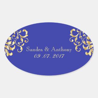 Elegantes Gold und blaue Ovaler Aufkleber