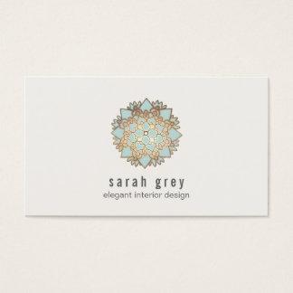 Elegantes Gold-und blauer Lotos-Blume Visitenkarten