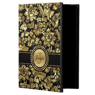 Elegantes Gold und schwarzes Blumendamast-Muster