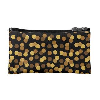 Elegantes Gold und schwarzes Tupfen-Muster Makeup-Tasche
