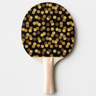 Elegantes Gold und schwarzes Tupfen-Muster Tischtennis Schläger
