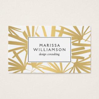 Elegantes Gold und weiße tropische Palmwedel Visitenkarten