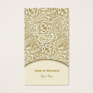 Elegantes Gold und weißer Paisley-Damast Visitenkarten