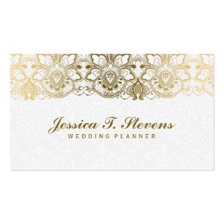 Elegantes Gold und weißer Spitze-Hochzeits-Planer Visitenkarten