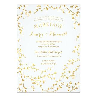 Elegantes Gold verlässt Garten-Hochzeits-Einladung 12,7 X 17,8 Cm Einladungskarte