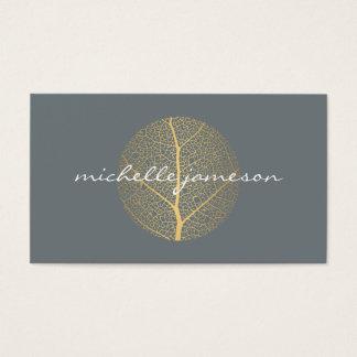 Elegantes Goldblatt-Logo auf Schiefer-Visitenkarte Visitenkarte