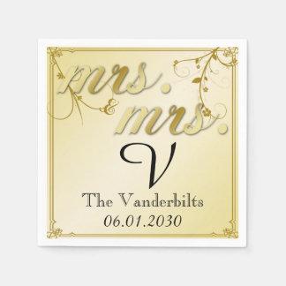 Elegantes Goldblumenmonogramm-Hochzeit Serviette