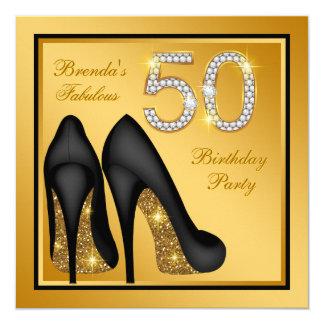Elegantes Goldfabelhaftes 50. Geburtstags-Party Karte