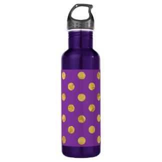 Elegantes Goldfolien-Polka-Punkt-Muster - lila Trinkflasche