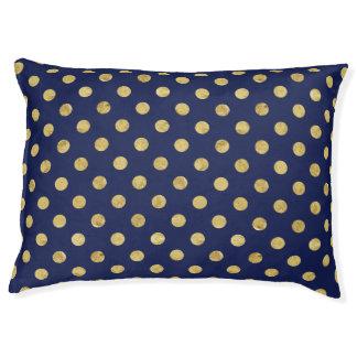 Elegantes Goldfolien-Tupfen-Muster - Gold u. Blau Haustierbett