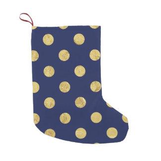 Elegantes Goldfolien-Tupfen-Muster - Gold u. Blau Kleiner Weihnachtsstrumpf