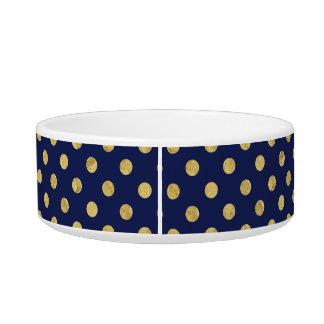 Elegantes Goldfolien-Tupfen-Muster - Gold u. Blau Napf