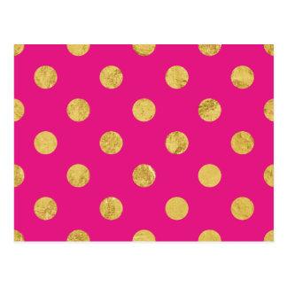 Elegantes Goldfolien-Tupfen-Muster - Gold u. Rosa Postkarte