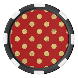 Elegantes Goldfolien-Tupfen-Muster - Gold u. Rot Pokerchips