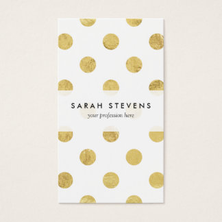 Elegantes Goldfolien-Tupfen-Muster - Gold u. Weiß Visitenkarte