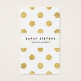 Elegantes Goldfolien-Tupfen-Muster - Gold u. Weiß Visitenkarten