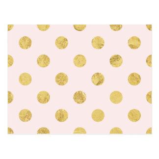 Elegantes Goldfolien-Tupfen-Muster - Rosa u. Gold Postkarte