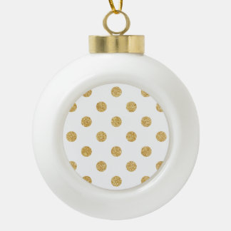 Elegantes GoldGlitter-Polka-Punkt-Muster Keramik Kugel-Ornament