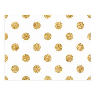 Elegantes GoldGlitter-Polka-Punkt-Muster Postkarte