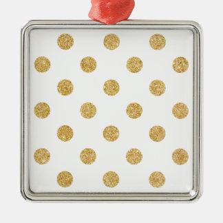 Elegantes GoldGlitter-Polka-Punkt-Muster Silbernes Ornament