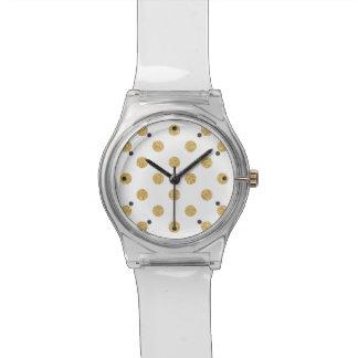 Elegantes GoldGlitter-Polka-Punkt-Muster Uhr