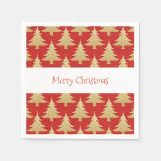 elegantes GoldGlitter Weihnachtsbaum-Musterrot Papierserviette