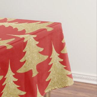 elegantes GoldGlitter Weihnachtsbaum-Musterrot Tischdecke