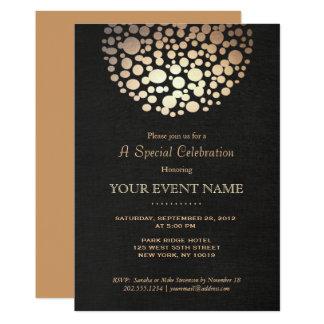 Elegantes Goldkreis-Bereich-Schwarz-Leinenblick 12,7 X 17,8 Cm Einladungskarte
