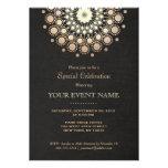 Elegantes Goldkreis-Motiv-Schwarz-Leinenblick Personalisierte Einladung