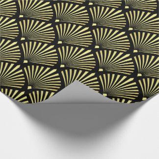 Elegantes Goldkunst-Deko-Fan-Muster auf Schwarzem Geschenkpapier