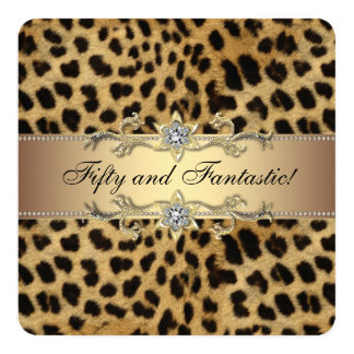 Elegantes Goldleopard-Geburtstags-Party Quadratische 13,3 Cm Einladungskarte