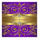Elegantes Goldlila Quinceanera Einladungen