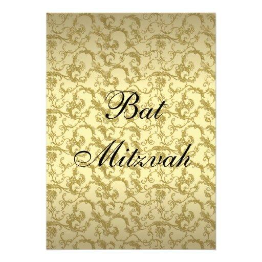 Elegantes Goldmit filigran geschmückte Schläger Personalisierte Einladungskarte