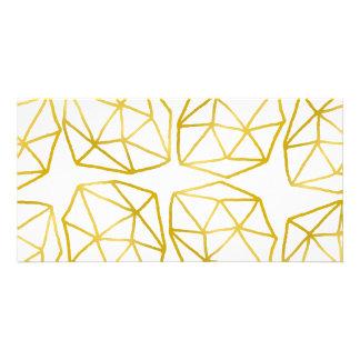 Elegantes Goldpolygonales einzigartiges Individuelle Photo Karte
