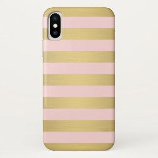 Elegantes Goldrosa Stripes metallischen Luxus iPhone X Hülle