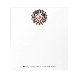 Elegantes Goldrosette-Monogramm-personalisierter Notizblock