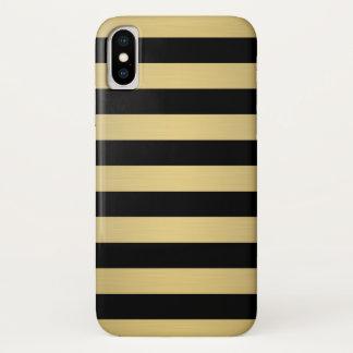 Elegantes Goldschwarzes Stripes metallischen Luxus iPhone X Hülle