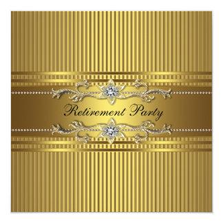 Elegantes Goldstreifen-Ruhestands-Party Karte